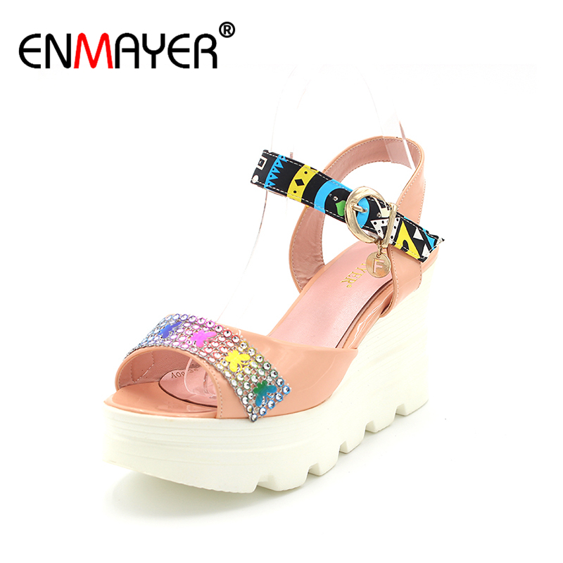 ENMAYER Summer Wedges Heels Shoes Woman High Heels Platform Sandals Women Sweet Rhinestone Ladies Sandals Green Pink Silver phyanic 2017 gladiator sandals gold silver shoes woman summer platform wedges glitters creepers casual women shoes phy3323