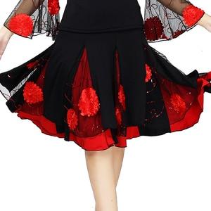 Image 2 - Senhoras saia de dança de salão feminino moderno padrão valsa desempenho saia palco salsa latina rumba cintura elástica #2625 1