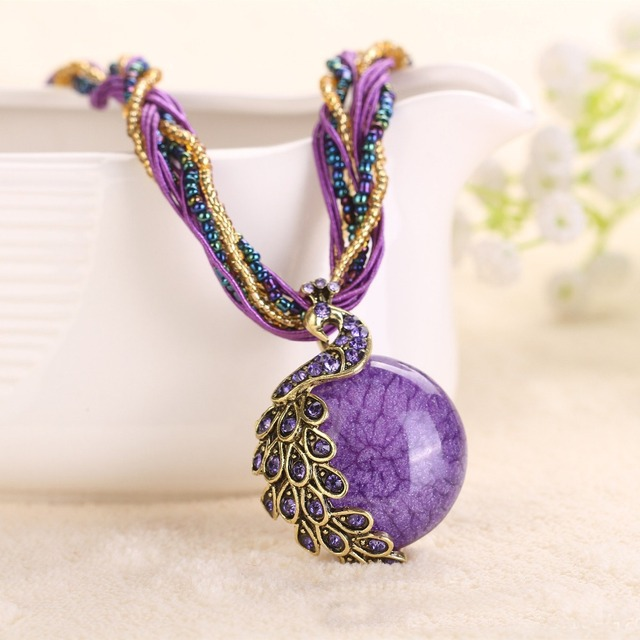 artificial peacock new strand jewel torques statement multi color fashion women crystal necklace item pendant jewelry necklaces