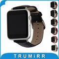 Couro genuíno watchbband com adaptadores para apple watch 38mm 42mm croco iwatch wrist band pulseira marrom preto vermelho rosa branco
