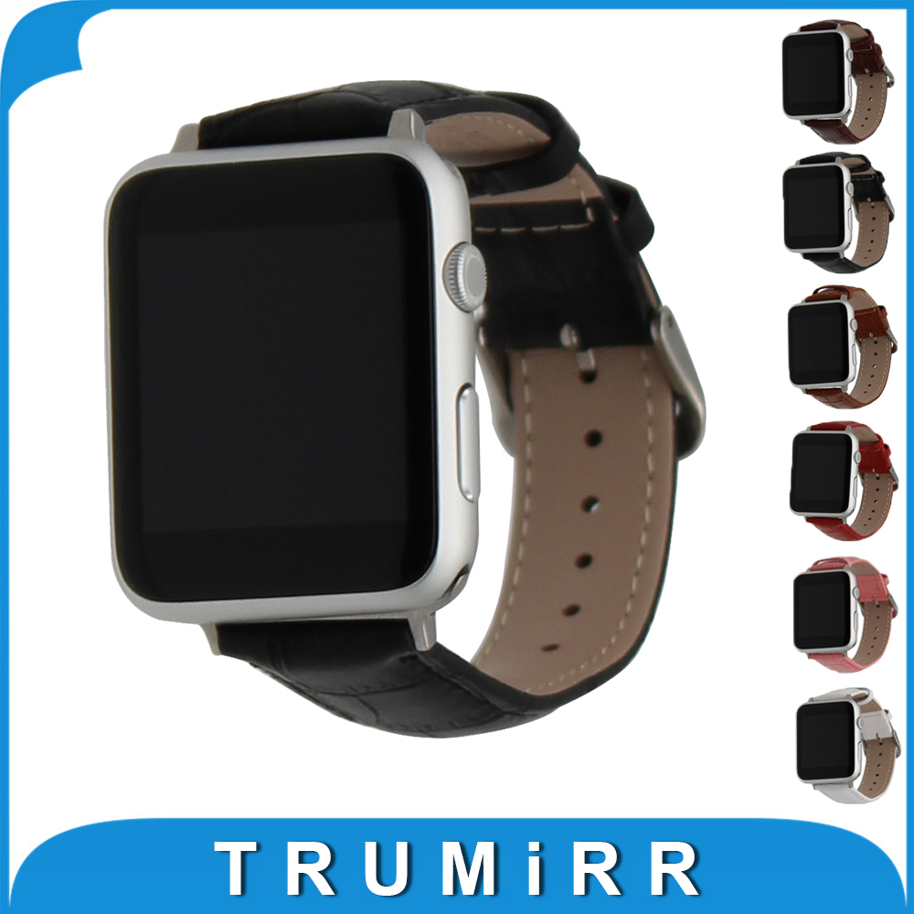 Genuine Leather Watchbband with Adapters for iWatch Apple Watch 38mm 42mm Croco Band Wrist Bracelet Black