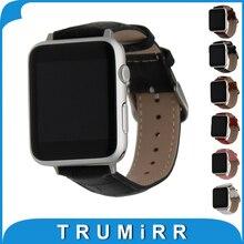 Véritable Cuir Watchbband avec Adaptateurs pour iWatch Apple Watch 38mm 42mm Croco Bande Poignet Bracelet Noir Brun Rouge Rose Blanc