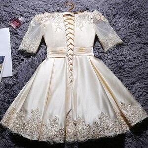 Image 2 - DongCMY kısa 2020 şampanya rengi gelinlik modelleri zarif Vestidos parti saten yarım kollu elbisesi