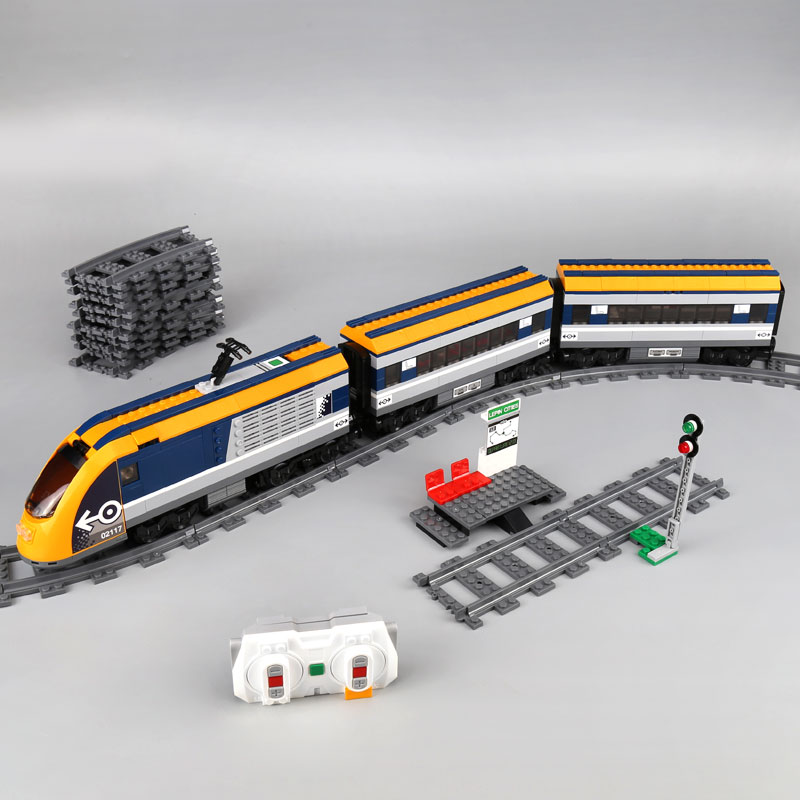 Building blocks 02117 City Compatible with 60197 Bricks Passenger Train figures Educational toys for children