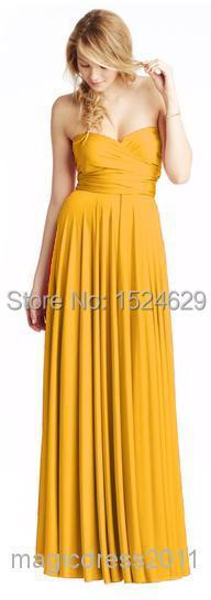 Cheap for sale 2015 Convertible Neckline Flowing Mustard Bridesmaid Dresses  A Line V Neck Halter Prom Party Formal Gown -in Bridesmaid Dresses from  Weddings ... 743547445d63