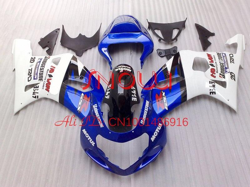 Blue&White Motul for SUZUKI GSX R600 R750 01-03 GSXR 600 GSXR600 GSXR750 GSX-R600 750 K1 01 02 03 2001 2002 2003 Fairing Kit