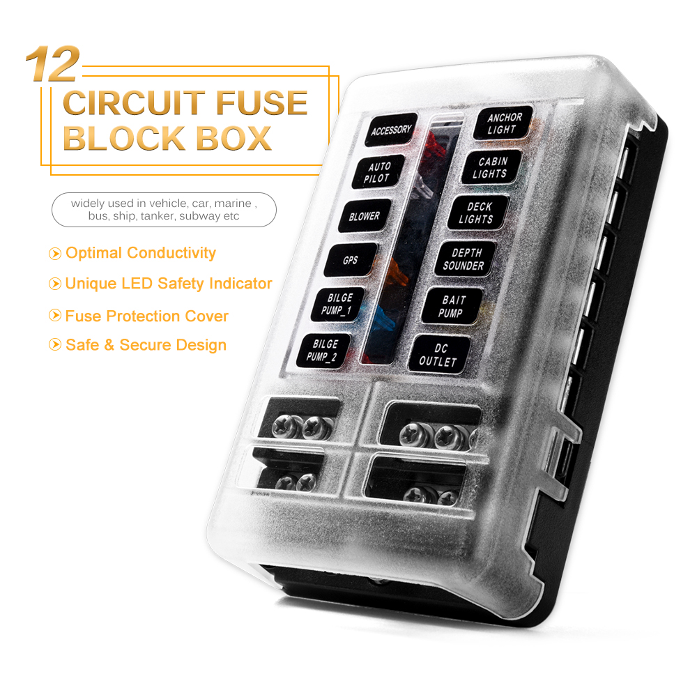 6 Way Blade Fuse Box Circuit Block Panel LED Indicator For Automotive Car Boat