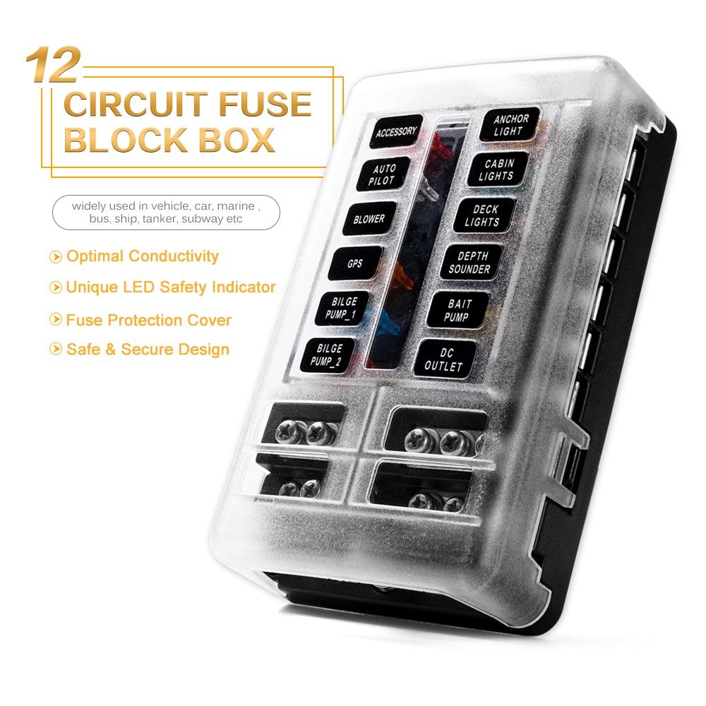 new 12 way blade fuse box holder 12v 24v for car boat marine caravan trike car [ 1000 x 1000 Pixel ]