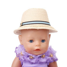 Vestido de muñeca para bebé cm se adapta a 43 cm sombrero de paja de muñeca  con 2 colores accesorios opcionales de regalo de cum. 2f3ca7847df