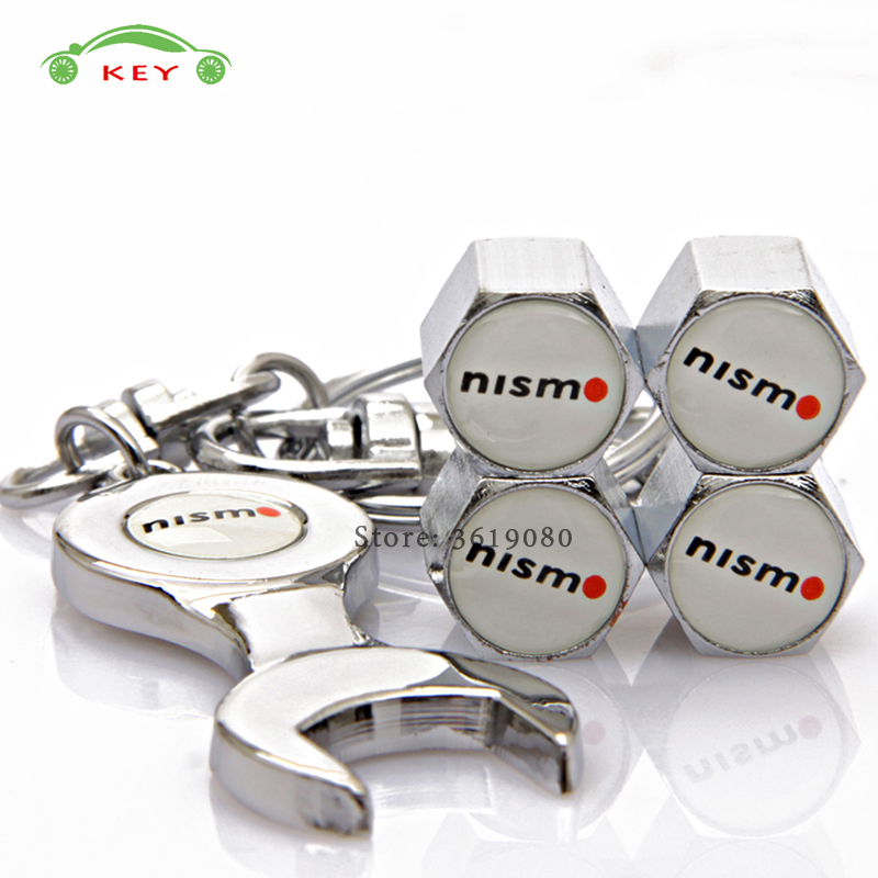 Car Accessories Tire Valve Caps Auto Wheel Stem Covers with Wrench Keychain for Nismo Logo for Nissan note juke skyline X-Trail