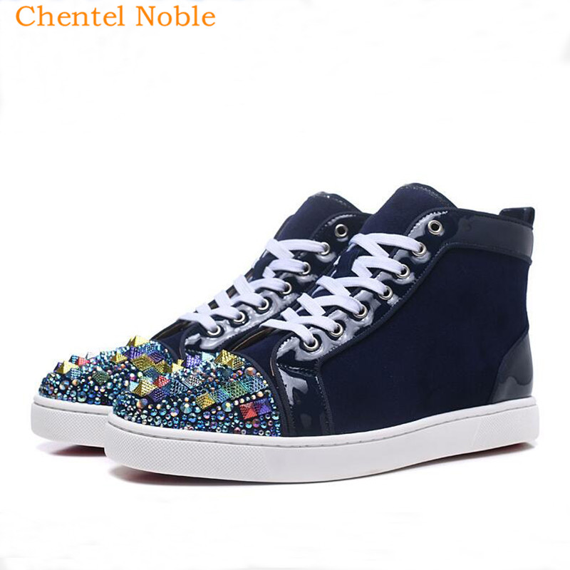 Detail Feedback Questions about 2018 Chentel Noble Suede Leather Crystal  Spikes Leisure Shoes Walking Sneakers Outdoor Sports Bling Bling Shoes For  Men Lace ... 9335edcf00de