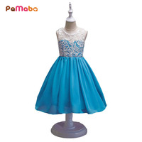 PaMaBa 3 14T Girls Slim Chiffon Lace Dresses Sleeveless Children Girl Wedding Princess Party Clothes Big