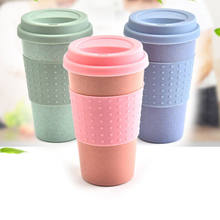 2019 Reusable Bamboo Fibre coffee Cups Eco Friendly Gifts 3 Colors 300ml Portable Coffee Tea Mugs Travel Mug With Lid(China)