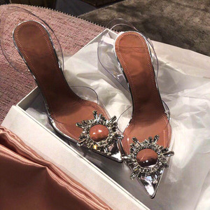 Image 4 - Peep Toe Women Pumps Summer Transparent Pvc Party Crystal Shoes High Heels Clear Elegant Ladies Sandals tacones mujer Size 34 40