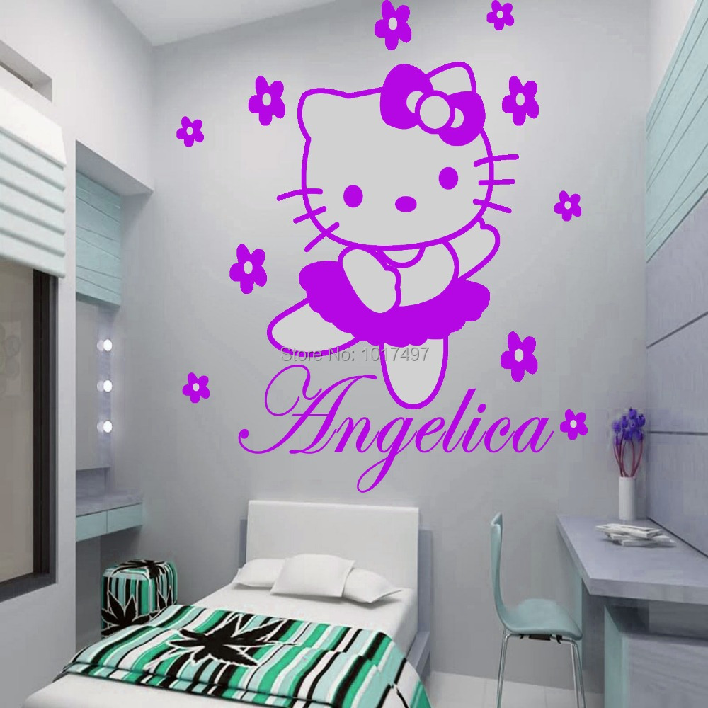 HELLO KITTY Fairy Personalised Name Wall Sticker Art Decal Vinyl Kids Girl  Room Decorative Free Shipping ,c2065 Part 69