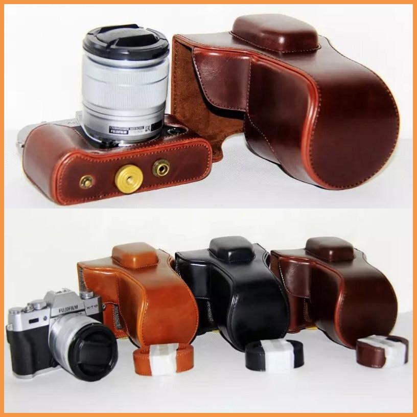 Pu cuoio della macchina fotografica per fujifilm fuji xt10 X-T10 XT-10 18-55mm 16-50mm lens