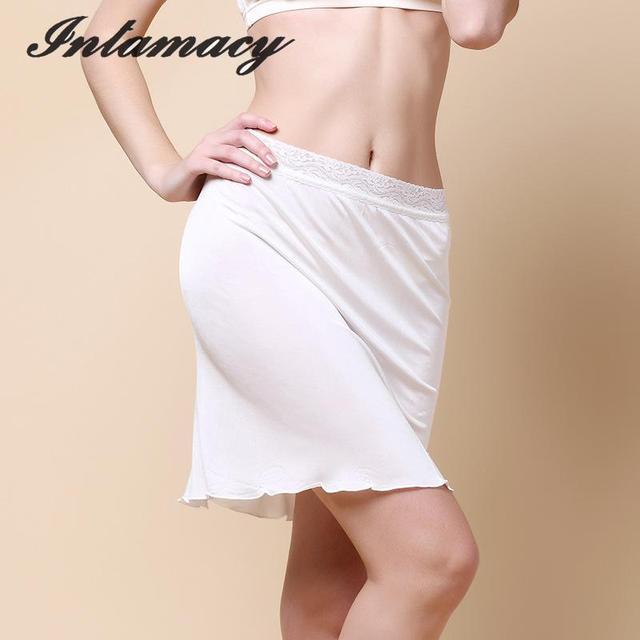 Summer 100% real Silk Knitting Lace Skirt Ladies Petticoats Bottom Dress