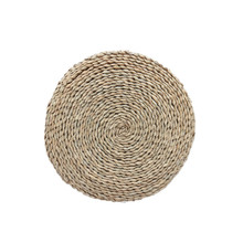 2pcs Natural Braided Straw Placemats Round Handmade Woven Placemat Resuable Non-slip Pad Tablemats 11.8inch 15.7