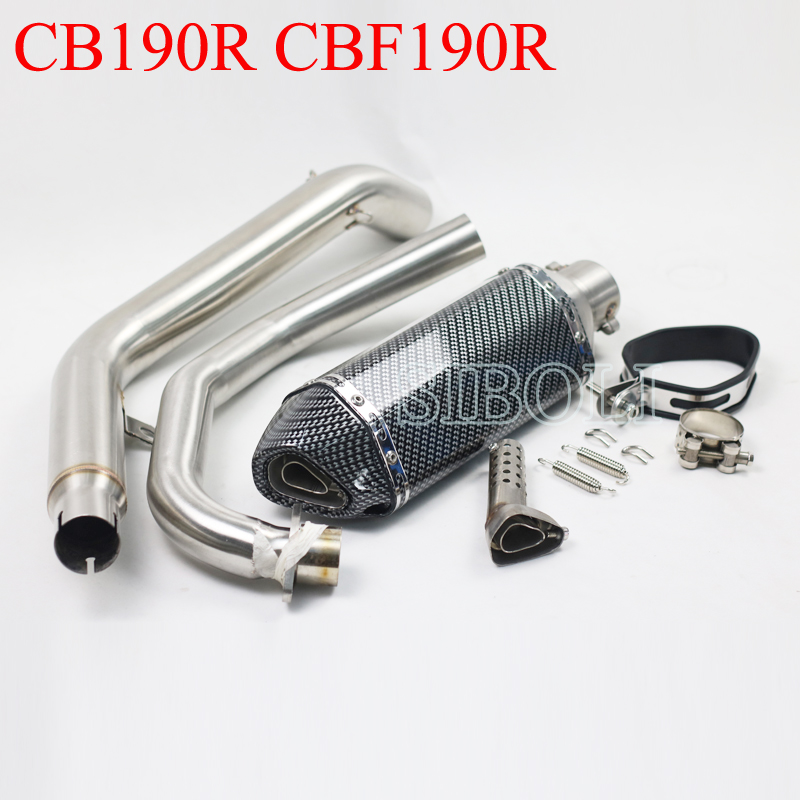 For Honda CB190R CBF190R Motorcycle Slip On Exhaust Muffler With Middle Link Pipe With Moveable DB KillerFor Honda CB190R CBF190R Motorcycle Slip On Exhaust Muffler With Middle Link Pipe With Moveable DB Killer