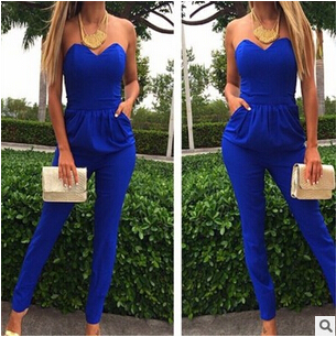 free shipping 2016  Europe and the pure color pocket jumpsuits that wipe a bosom blue white black size S-XL