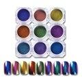 9 Коробок 1 Компл. Топ-Класс Хамелеон Ногтей Порошок Маникюр Nail Art Пигмент Хром Блестит Черный Основной Цвет Необходимости