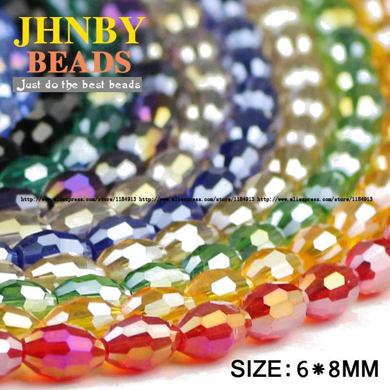 JHNBY butir Beras AAA Austria kristal beads 50 pcs 6*8mm oval bentuk kaca kristal Longgar beads untuk membuat perhiasan gelang DIY