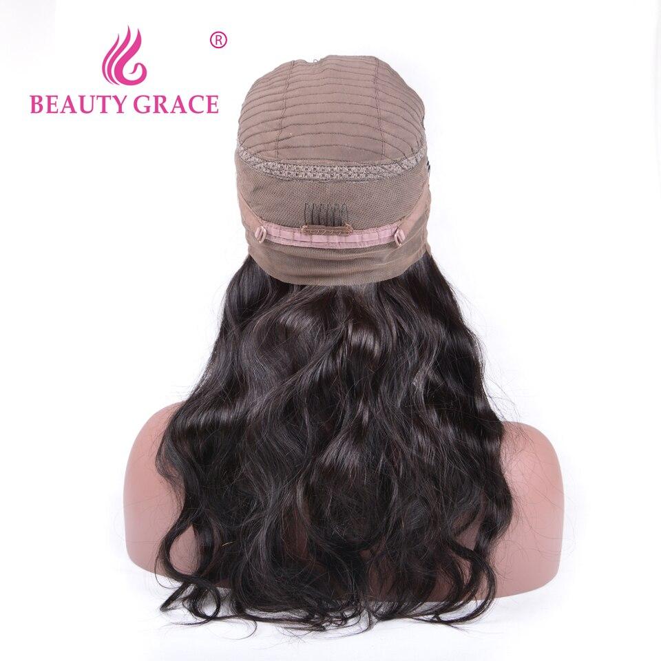 Beleza Graça 360 Lace Wig Frontal Pré Arrancou Com o Cabelo Do Bebê brasileiro da Onda Do Corpo Preto Remy Parte Dianteira Do Laço Perucas de Cabelo Humano Para mulheres