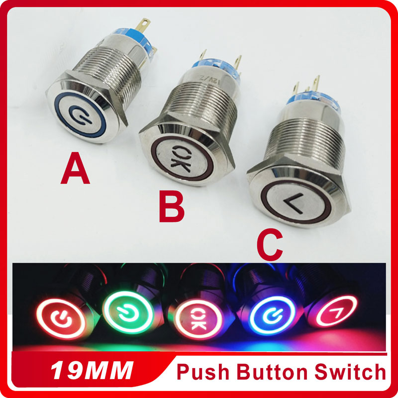 19mm Metal Momentary Push Button Switch LED 3V5V 12V 24V 220V StainlessLess Steel Waterproof Car Auto Engine PC Power Start 1pc 19mm power start push button with led 12v 24v momentary auto reset ring indication illuminated car dash power metal switch