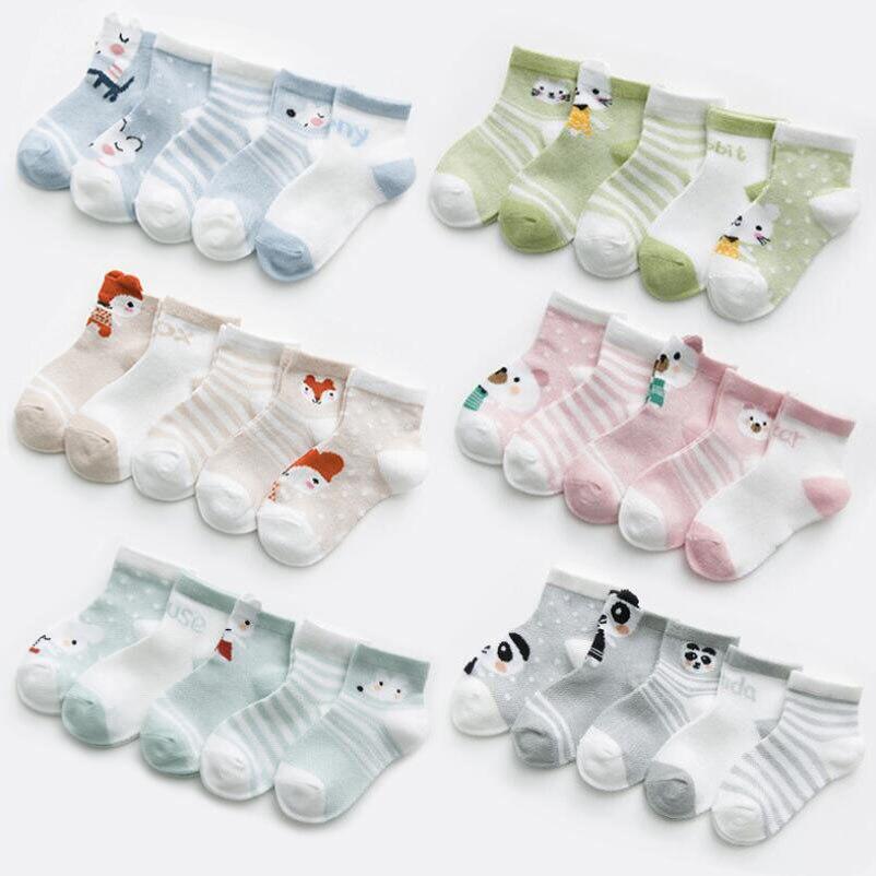 5 Pairs/lot Baby Socks Summer Mesh Breathable Cotton Infant Socks Children Kids Boys Girls Short Sock 0-8 Years 1