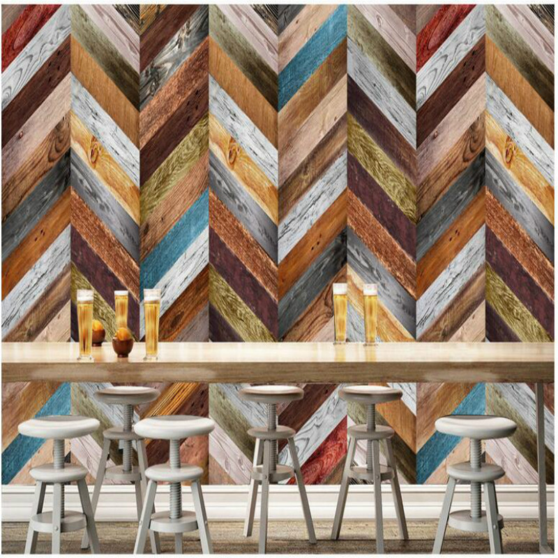 3D color retro wood board Wallpaper for Bar KTV backdrop Walls 3d Wall Paper TV Background Painting Mural Wallpapers decorate nostalgic retro brick wall 3d wallpaper for bar coffee shop wall paper tv background mural wallpapers home improvement decorate