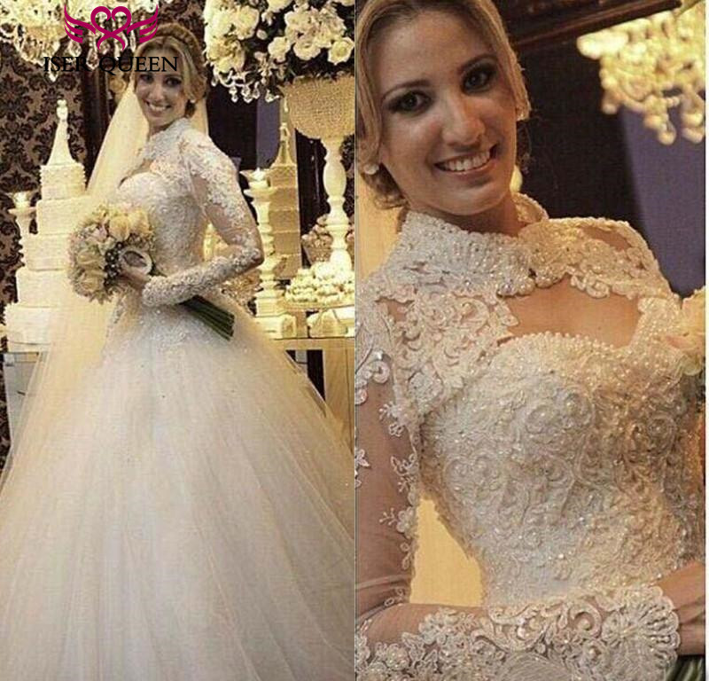 High Neck Beautiful Pearls Beading Long Sleeve Muslim Wedding Dress 2019 Custom Made ivory Ball Gown Bridal Dresses Gown  W0355