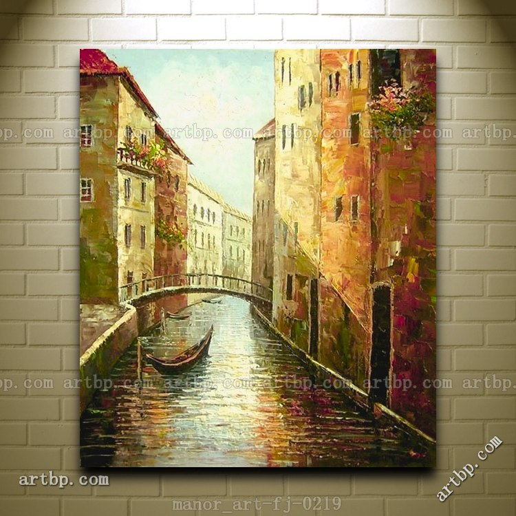 Large Canvas Wall Art Hand Painted Oil Painting Modern Decor Venice ...