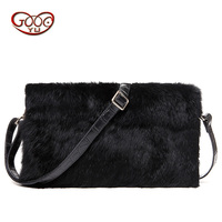 Europe And The United States Fashion Envelopes Woolen Bag Leather Rabbit Fur Hand Bag New Handbag