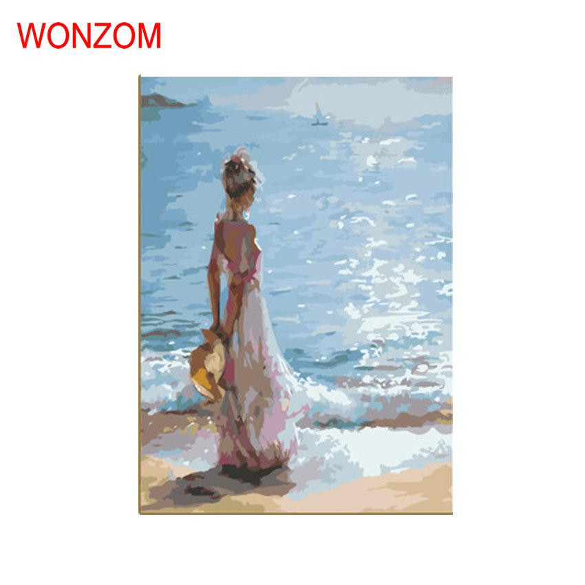 Wall Pictures Painting By Numbers DIY HandPainted Sea Girl Canvas Poster For Home Decor Christmas Gift Coloring By Numbers Cheap