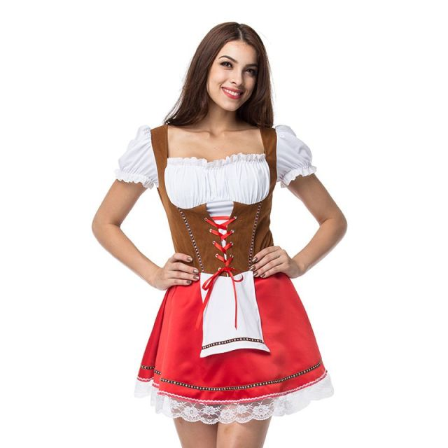 b5cb3a2d39e US $15.65 45% OFF|Plus Size Halloween Maid Dress German Women Dirndl Dress  Cosplay Oktoberfest Beer Girl Wench Costume Stage Play Mini Dress 2018-in  ...