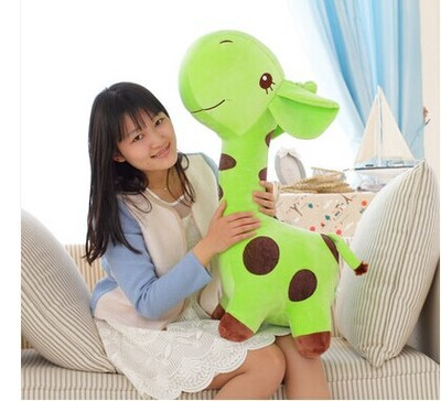 huge 85cm giraffe plush toy cartoon spotted giraffe doll, green throw pillow ,Christmas gift b4688 free shipping about 60cm cartoon totoro plush toy dark grey totoro doll throw pillow christmas gift w4704