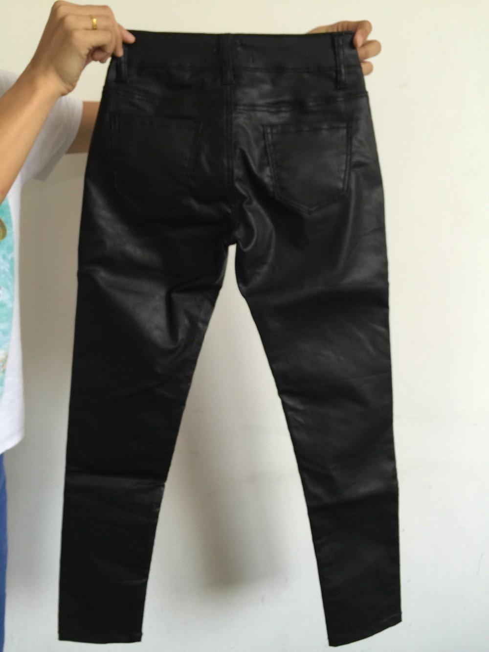 729a6d62c0 Botón de moda skinny cintura alta pantalones lápiz mujeres ...