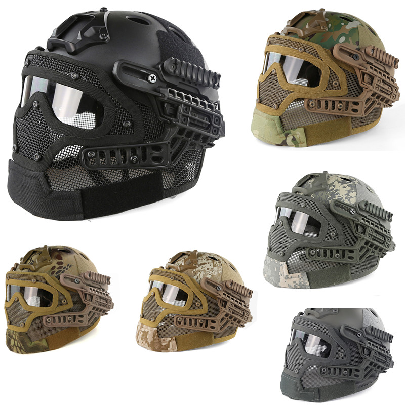 New G4 system protective Tactical Helmet full face mask with Goggle for Military Airsoft Paintball Army WarGame Safety & Surviva protective outdoor war game military tactical full face shield mask black