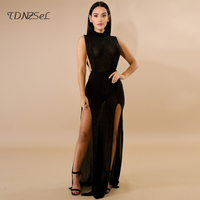 sexy women gowns dress diamond embellished 2018 high quality evening party night club wear robe long dress see through erotic