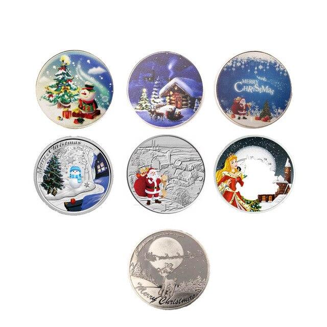 Regalos de Navidad de moneda de plata 999,9 Chapado en plata hombre de nieve de Navidad de moneda recuerdo arte artesanía 6 unids/lote moneda de plata para las colecciones