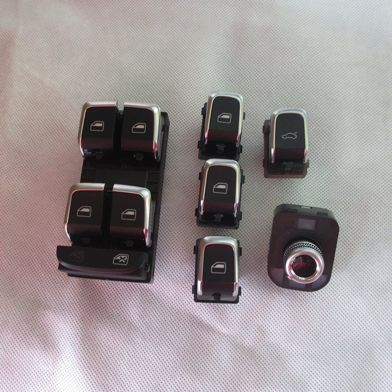 6 PIECES Chrome Master Window Lifter Switch Trunk Switch Side Mirror Switch with folding For Audi