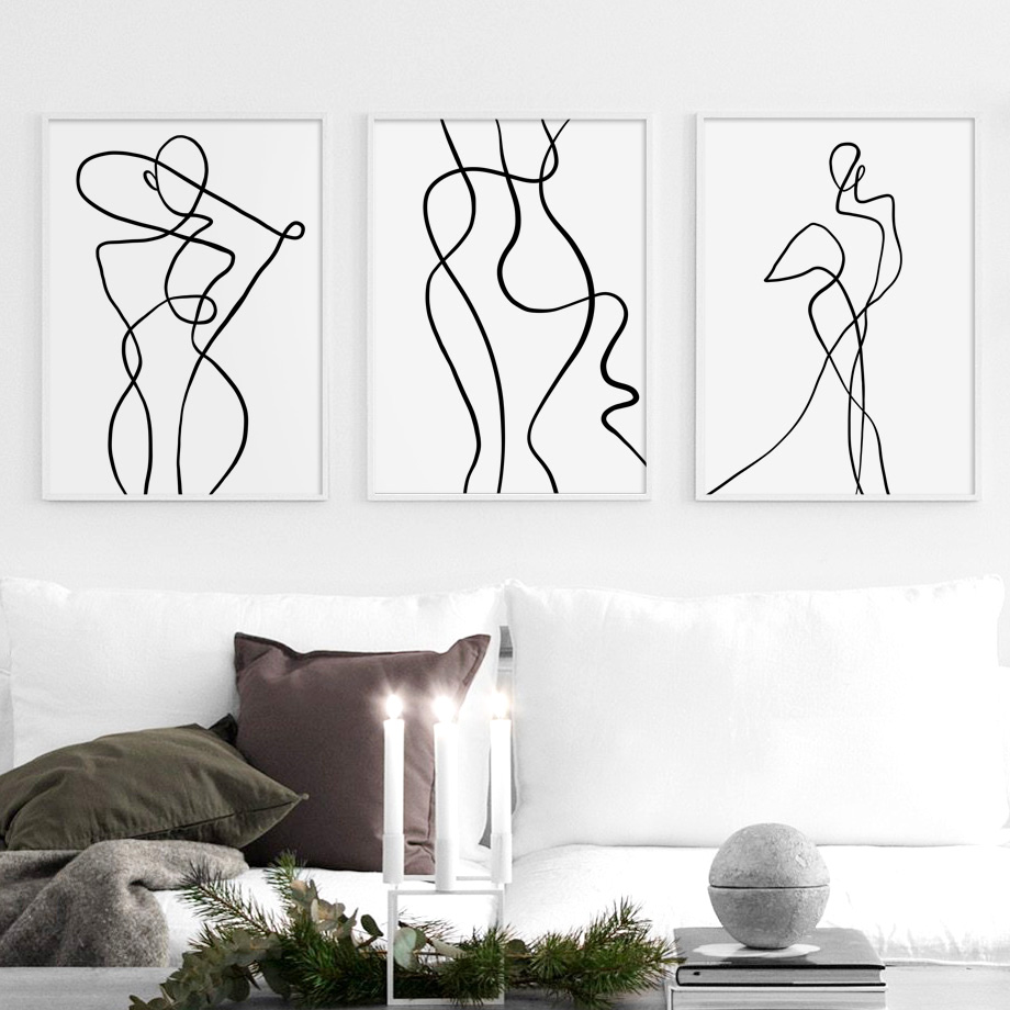 Abstrakte Körper Kunst Drucke Linie Sexy Frau Wand Kunst Leinwand Malerei Nordic Poster Und Drucke Wand Bilder Für Wohnzimmer Decor Geeignet FüR MäNner, Frauen Und Kinder