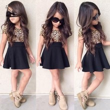 2016 New Summer Kids Girl Leopard Patchwork Short Sleeve High Waist Casual Pleated Children Mini font