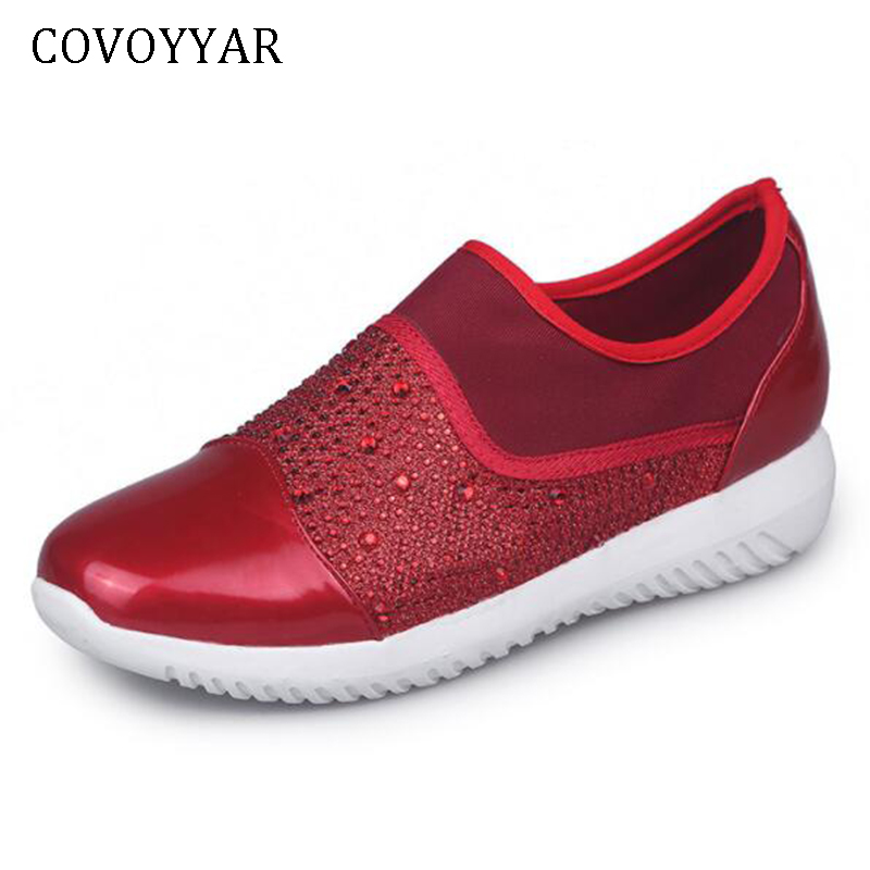 COVOYYAR 2019 Rhinestone Women Fashion Sneakers Flat Platform Mixed Color Woman Casual Shoes Crystal Lover Shoes For Lady WSN225