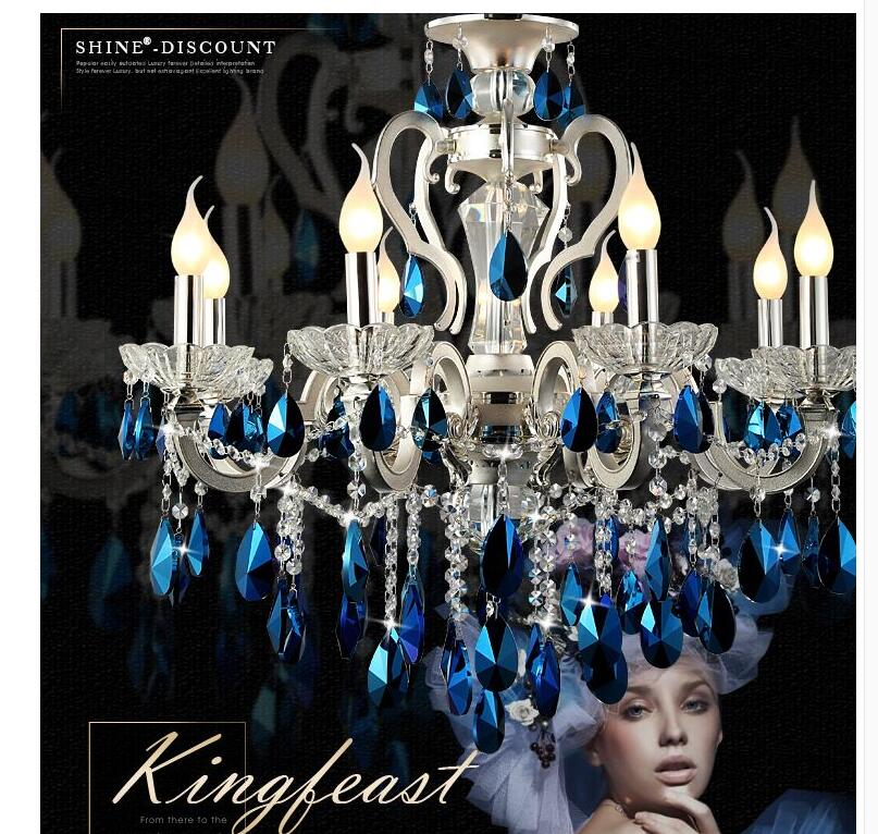 Factory Direct Selling Modern Dark Blue Crystal Pendant Lamp Ceiling Lamp Chandelier Dining Room Lighting LED Bulbs Included napapijri guji check dark blue