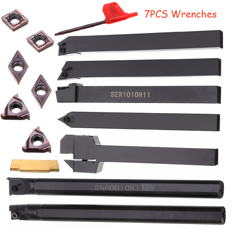 21 pz/set 10mm Portautensili Codolo Noioso Bar + Inserti In Metallo Duro Set con Chiavi Per Tornio Utensile da Tornio