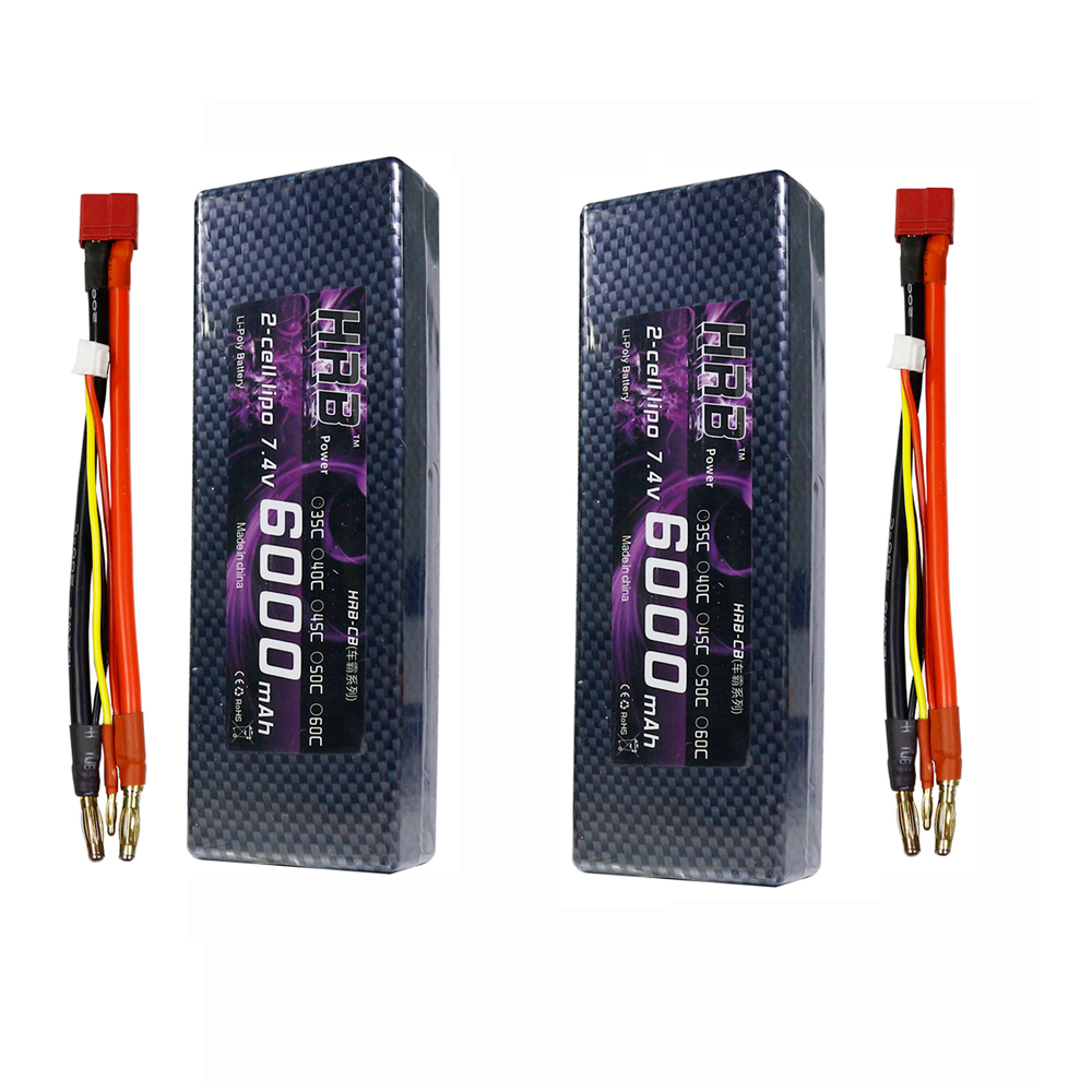 2pcs HRB 6000mah 7.4V 2S RC Lipo Battery 60C Max 120C Li-polymer battery Hard Case Banana for RC Traxxas Slash 4X4 Ultimat Truck