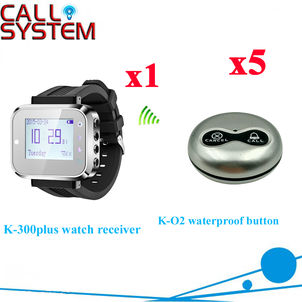 Wireless Restaurant Pager System Beautiful Color About Watch Pager With Sliver Button CE Passed( 1 watch + 5 call button ) wireless table call system monitor bell buzzer used in the cafe bar restaurant 433 92mhz 2 display 1 watch 18 call button