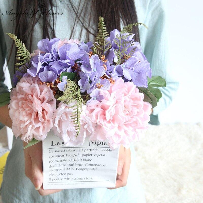 Wholesale Artificial Flowers Bouquet Dahlia Plants Silk Flowers