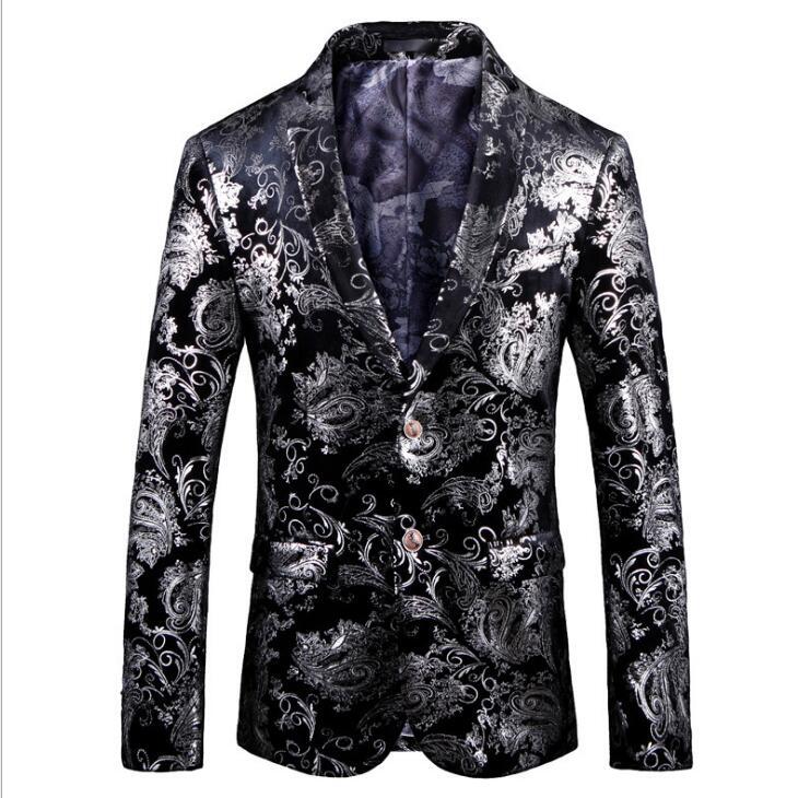 Erkek Kıyafeti'ten Blazerler'de FOLOBE Gümüş Baskı Blazer Ceket Erkekler Moda Balo Blazers Mens Elbise Ceket Sahne Giyim Erkekler Baskılı Blazer Slim Fit 5XL'da  Grup 1